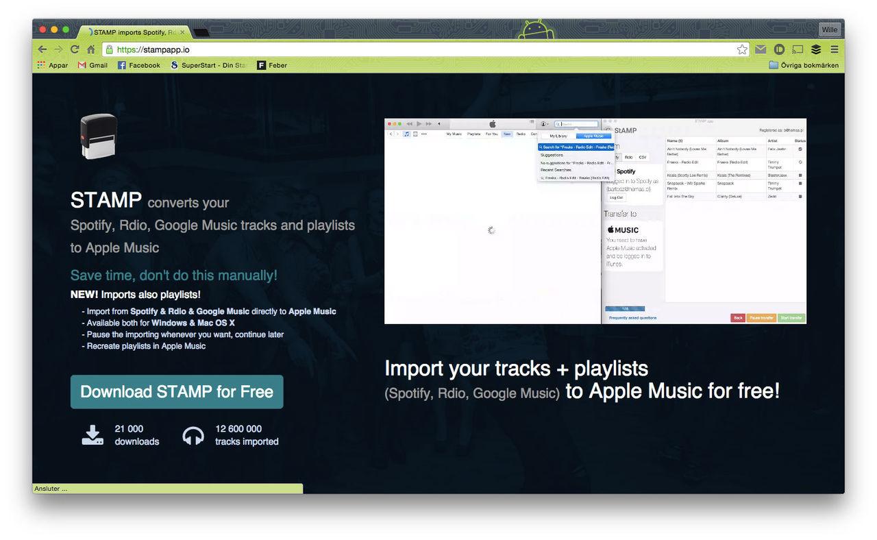 Stamp konverterar låtlistor till Apple Music
