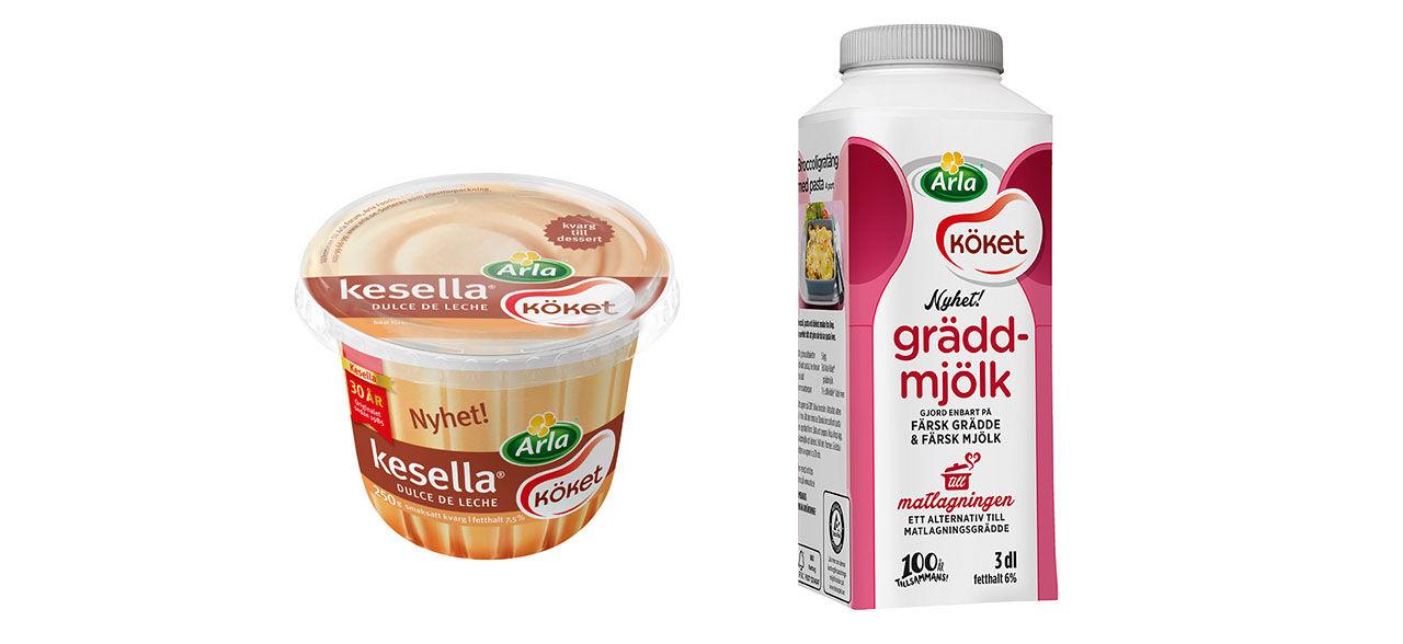 Gräddmjölk och Kesella dulce de leche