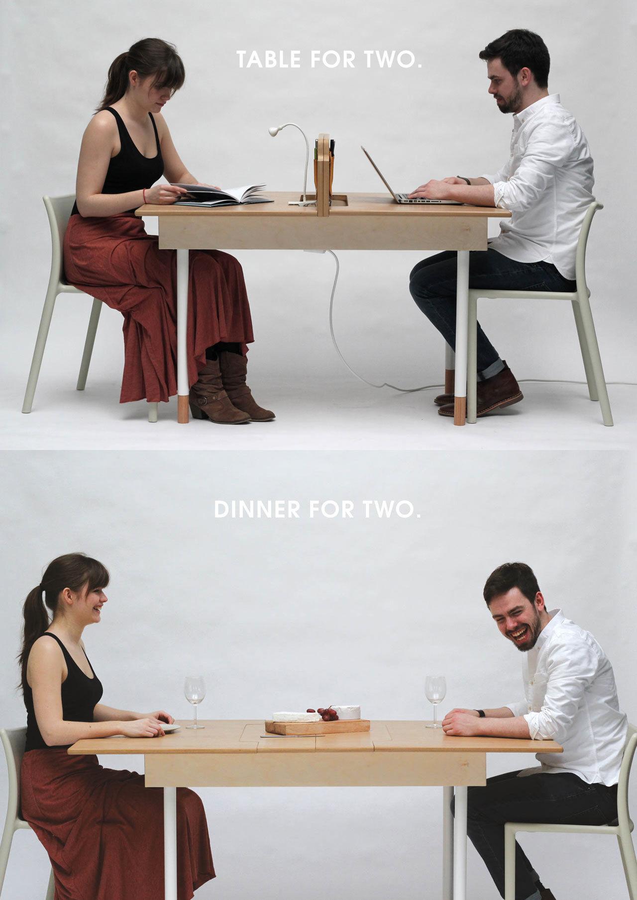 Skrivbordet för två som också är ett matbord