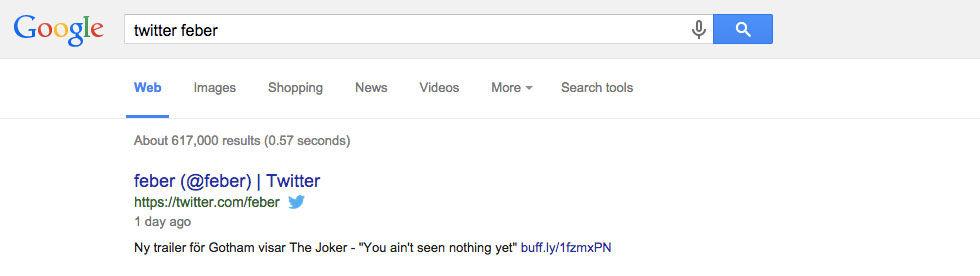 Nu visar Google twittrares senaste tweet i sökresultatet