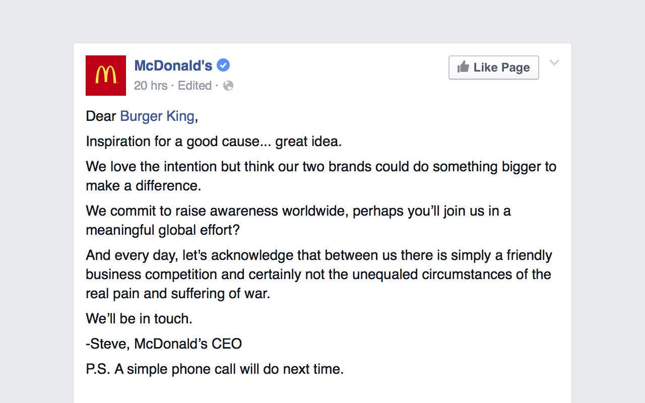 McDonalds vill inte ha fred i världen