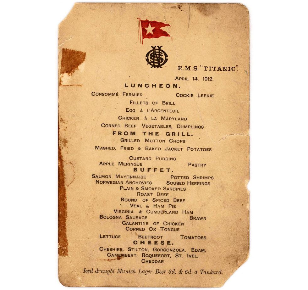Lunchmeny från Titanic går på auktion