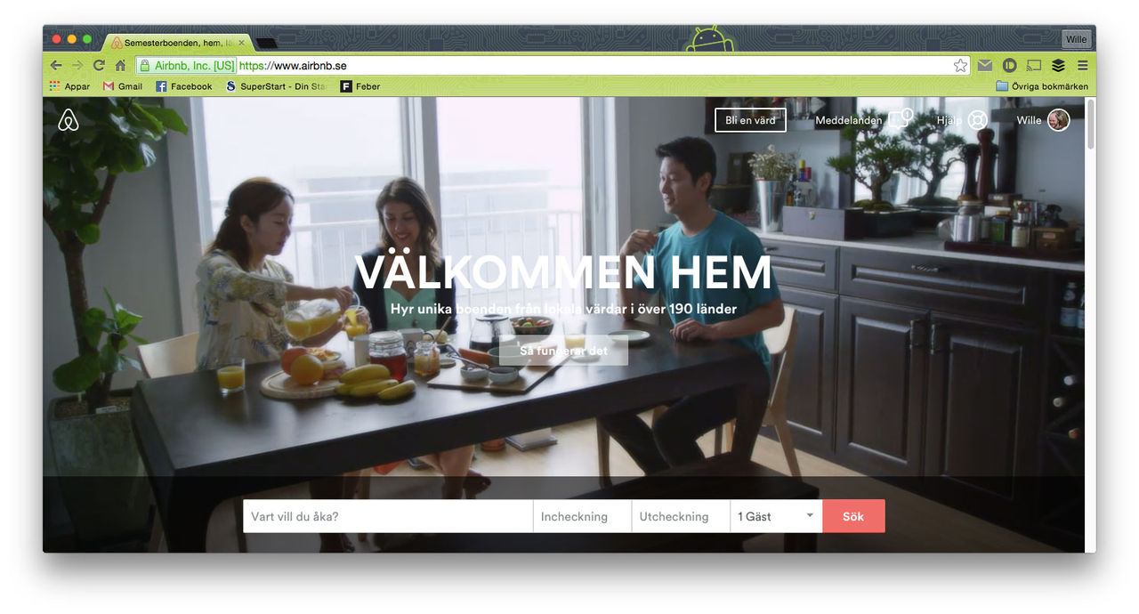 Airbnb dubblar antalet uthyrningar från svenskar på ett år