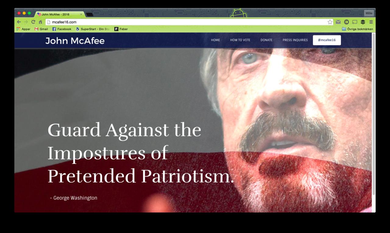 John McAfee siktar på att bli USA:s president