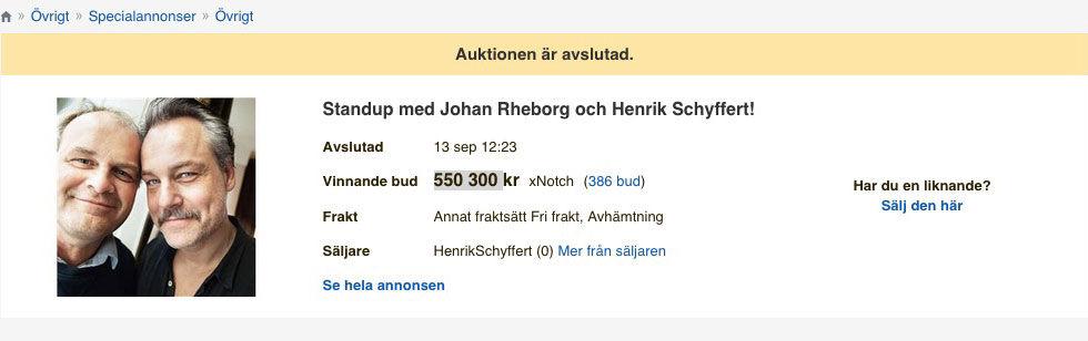 Notch vann auktionen på Rheborg och Schyffert
