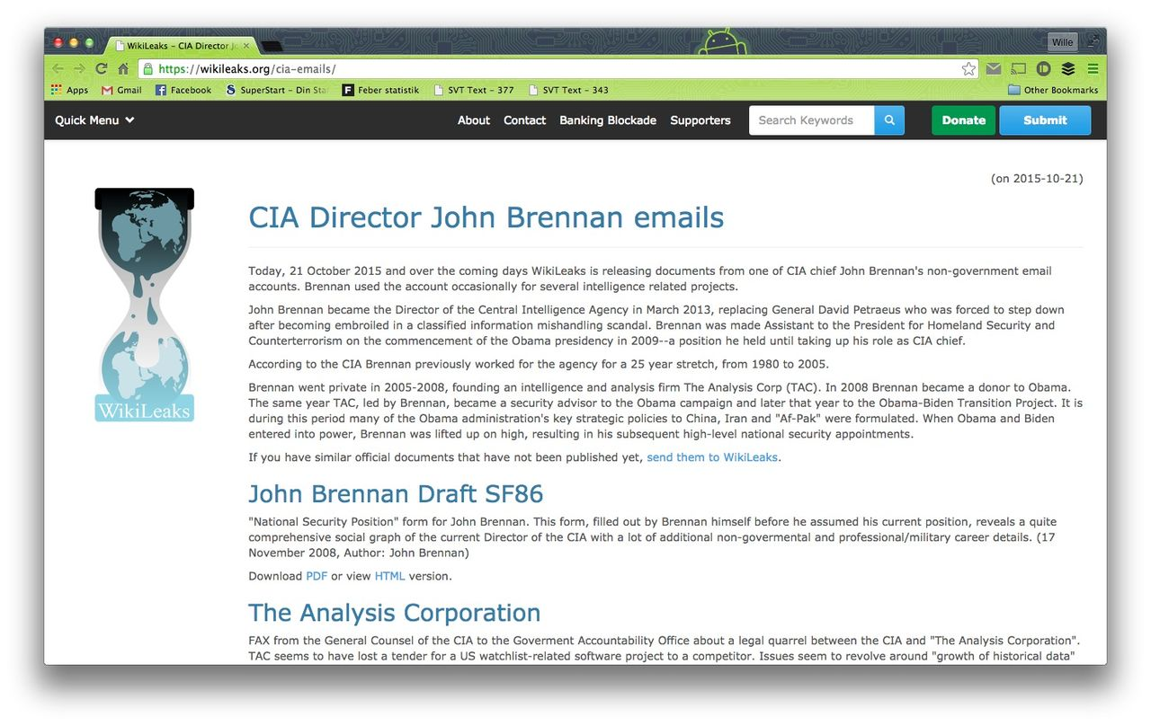 WikiLeaks publicerar hackade CIA-chefens epost