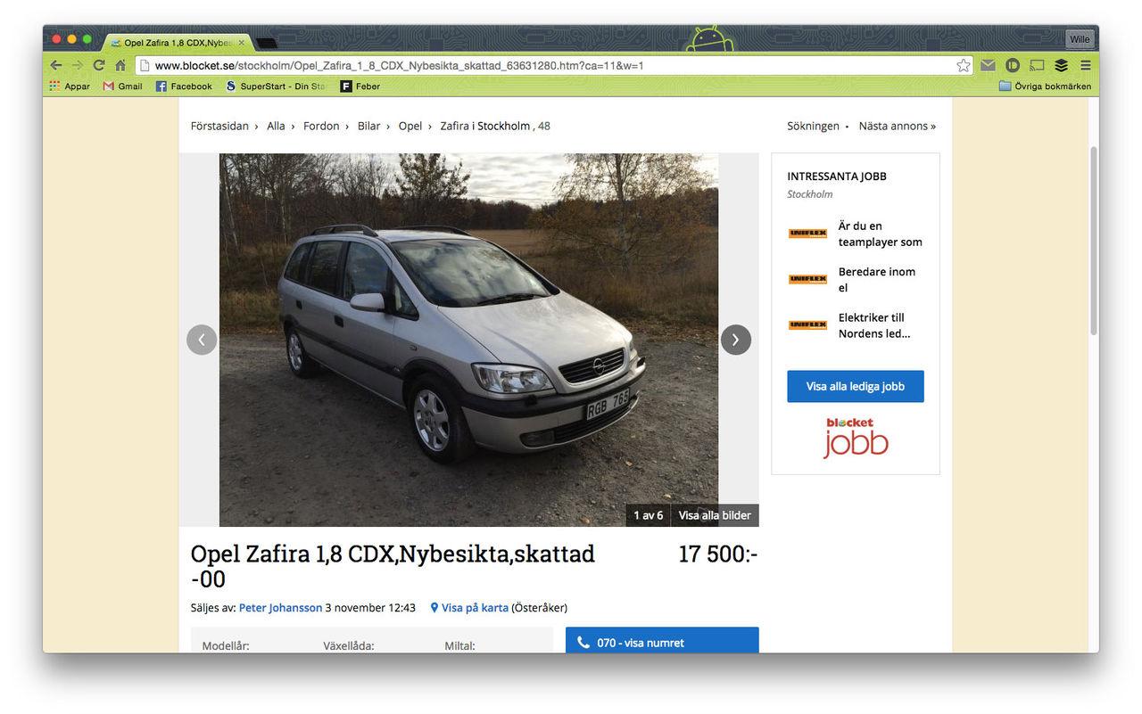 Opel Zafira snabbast säljande bilmodellen på Blocket