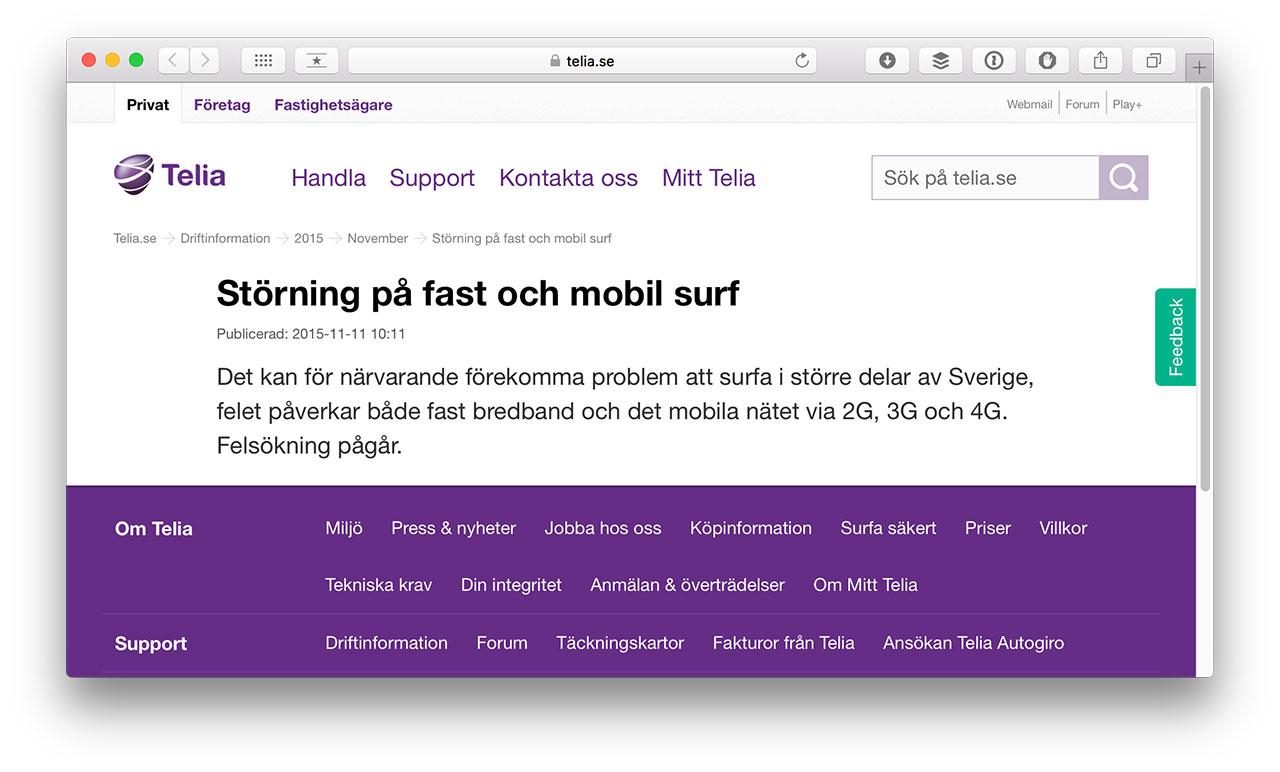 telia driftinfo bredband