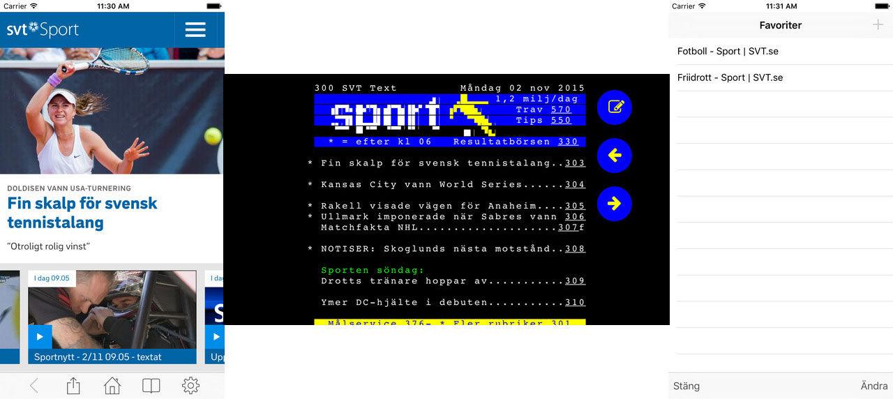 SVT Sports nya app visar Text-TV på fiffigt sätt