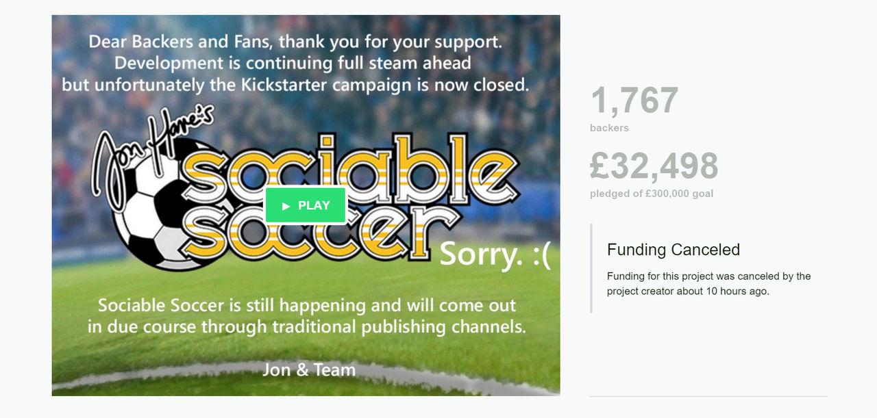 Kickstarterprojektet för Sociable Soccer har lagts ner