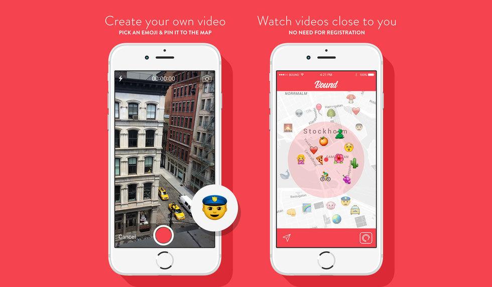 Appen Bound hittar videos inspelade i närheten av dig