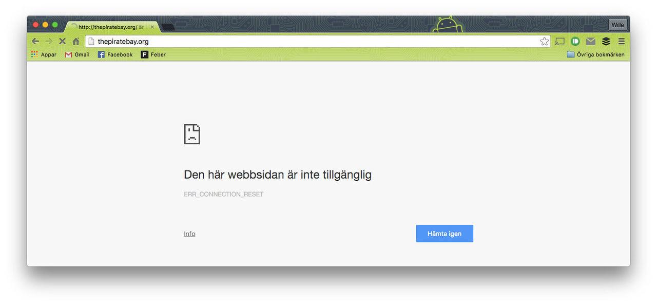 Nu fungerar inte thepiratebay.org längre
