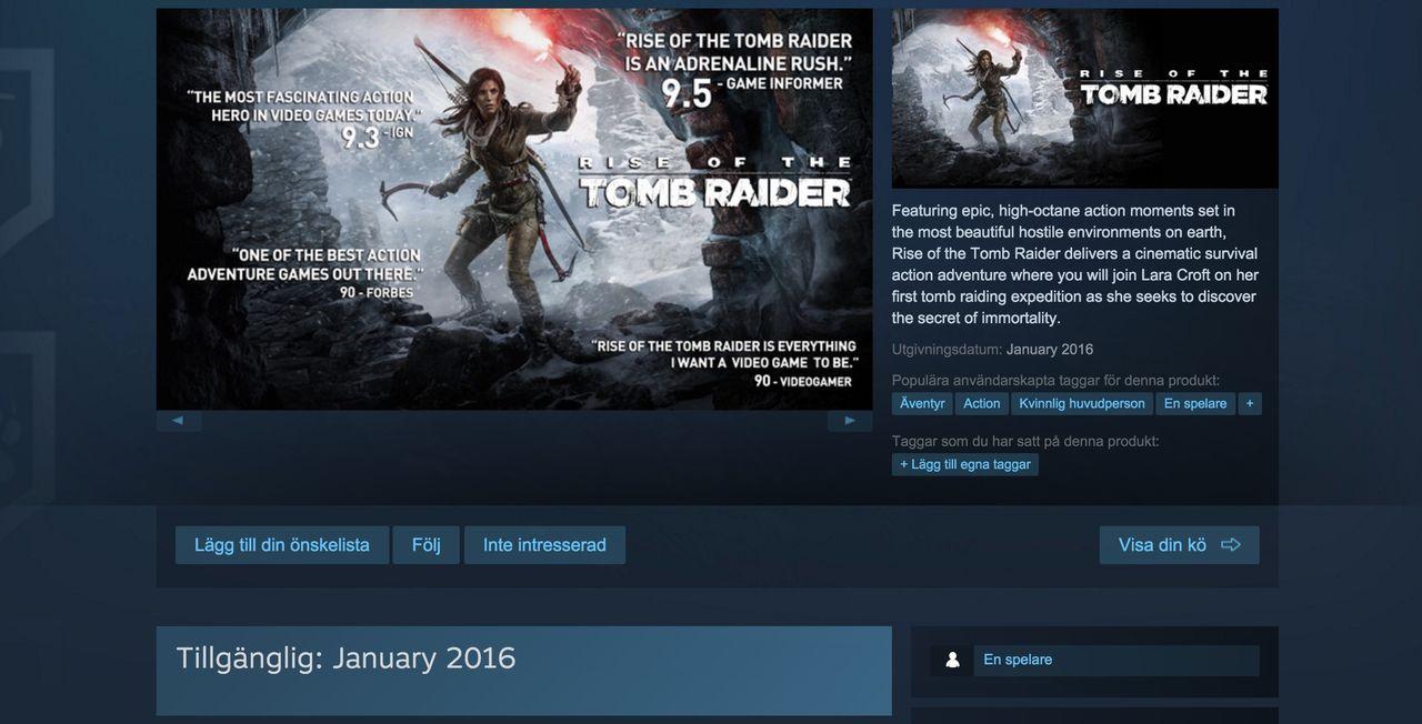 Rise of the Tomb Raider har fått sig en Steam-sida