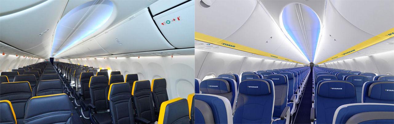 Nya interiörer i Ryanairs flygplan
