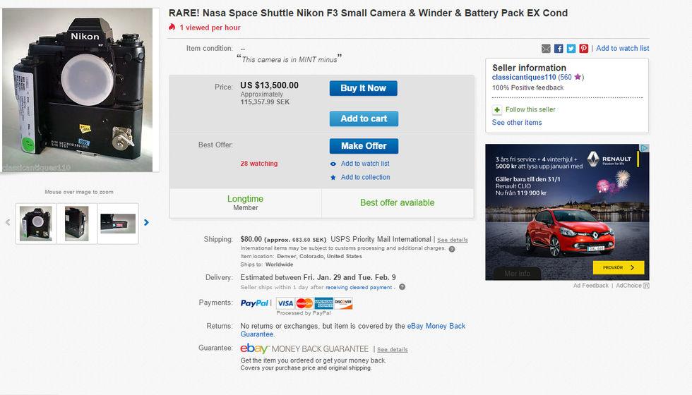 Specialgjord unik Nikonkamera säljs på Ebay