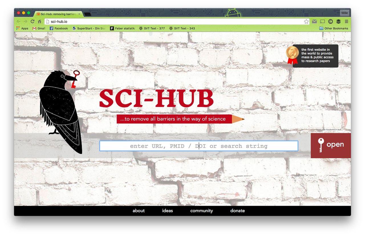 Sci-hub är en sökmotor för forskningsavhandlingar