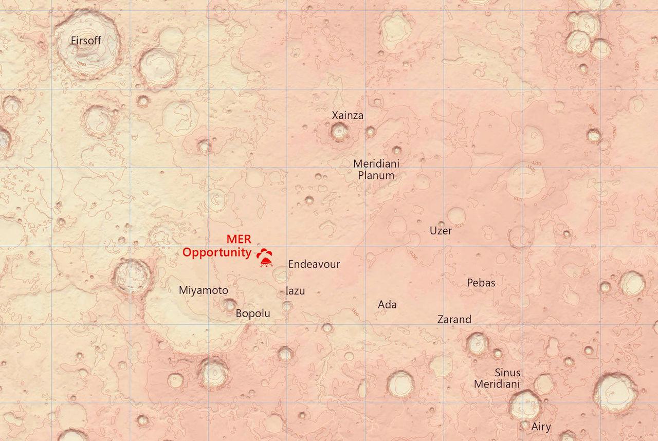 Detaljerade kartor över del av Mars