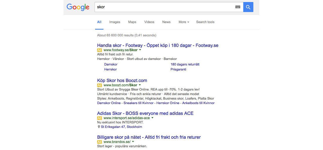 Google byter position på sina annonser