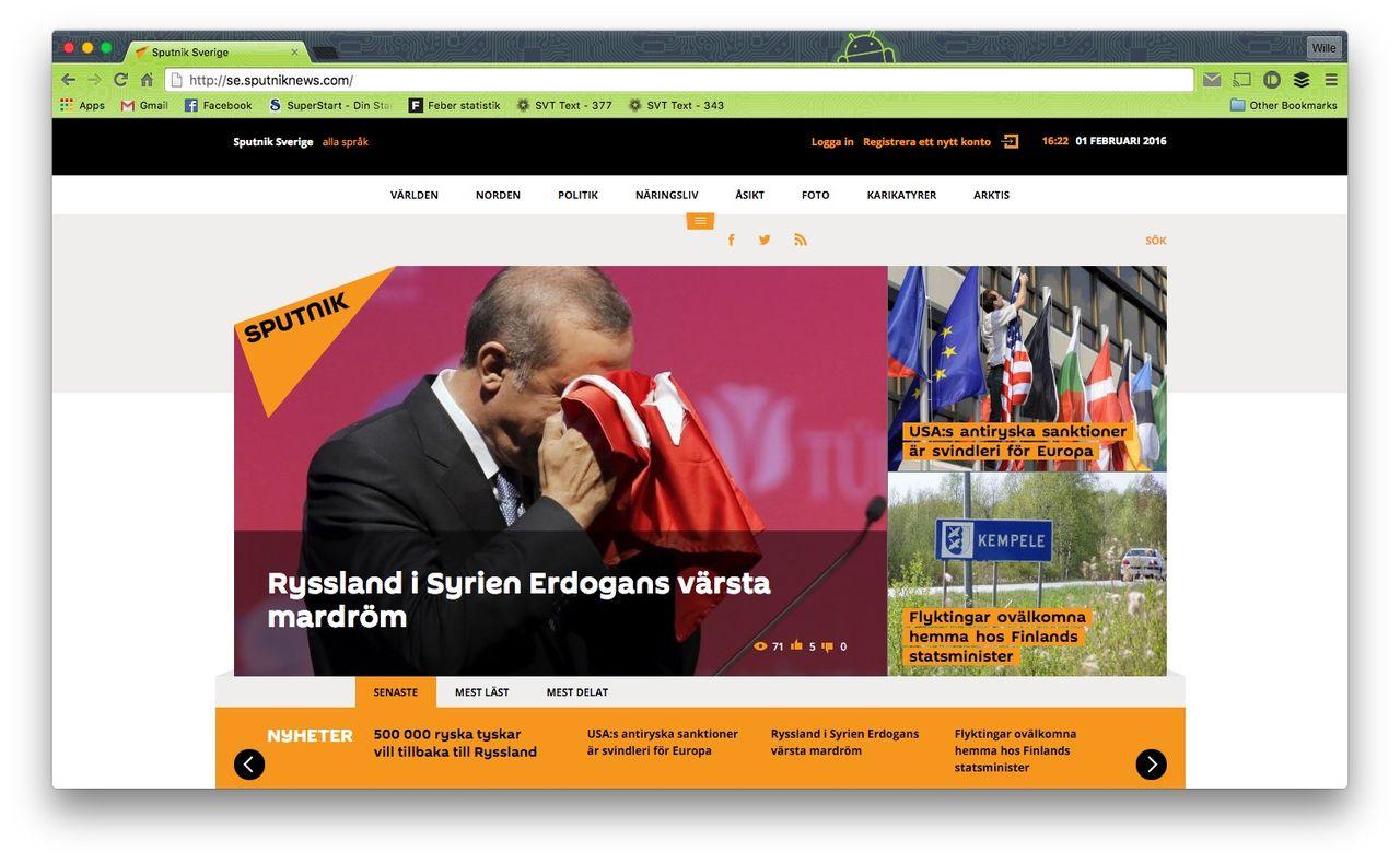 Svenska delen av Sputnik News läggs ner