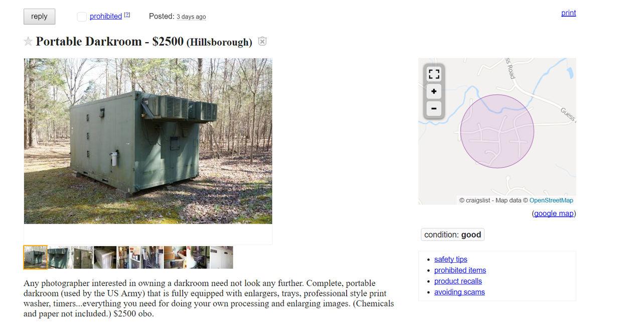 Köp ett portabelt mörkerrum från amerikanska armén