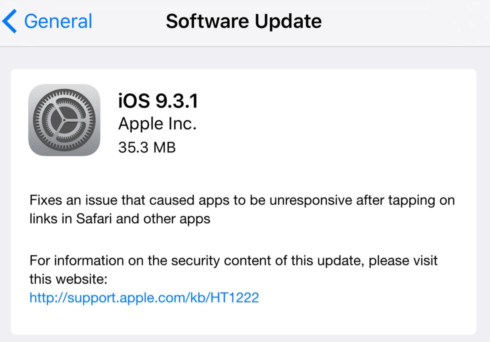iOS 9.3.1 rullar ut nu