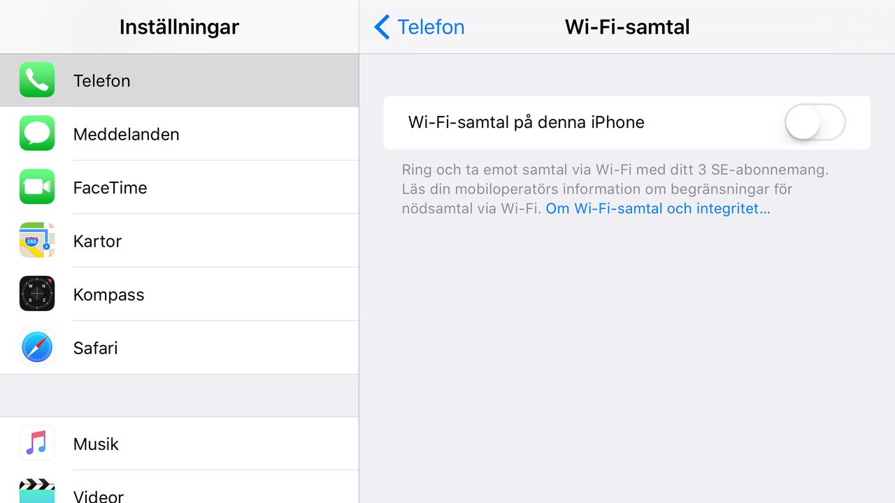Hur ser det ut med wifi-samtal hos andra operatörer?