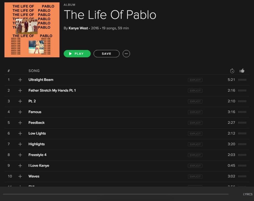 Nu finns Kanye Wests Life of Pablo på Spotify