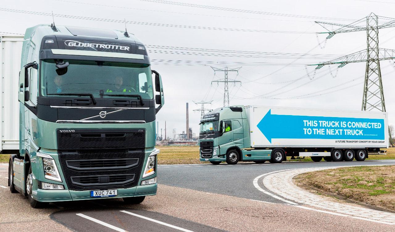 Konvojer med självkörande lastbilar körde genom Europa igår