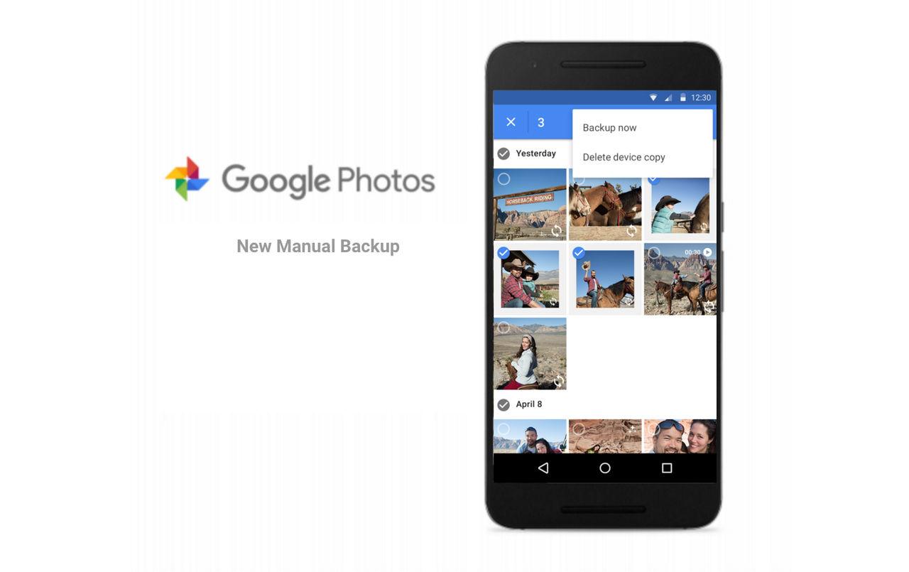 Google Photos får manuell backup