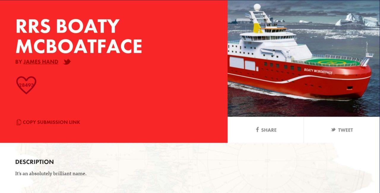 RRS Boaty McBoatface storvinnare i namnomröstningen