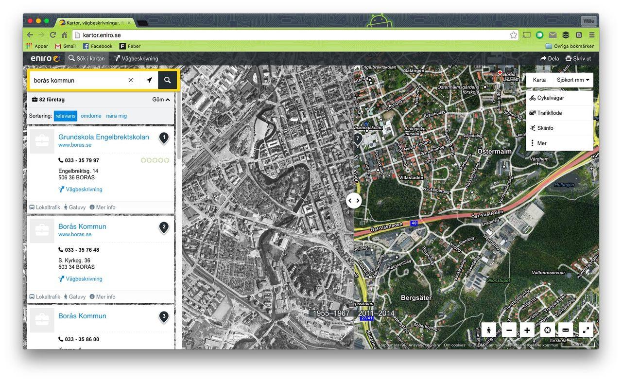 Kolla in historiska kartor med Eniros karttjänst