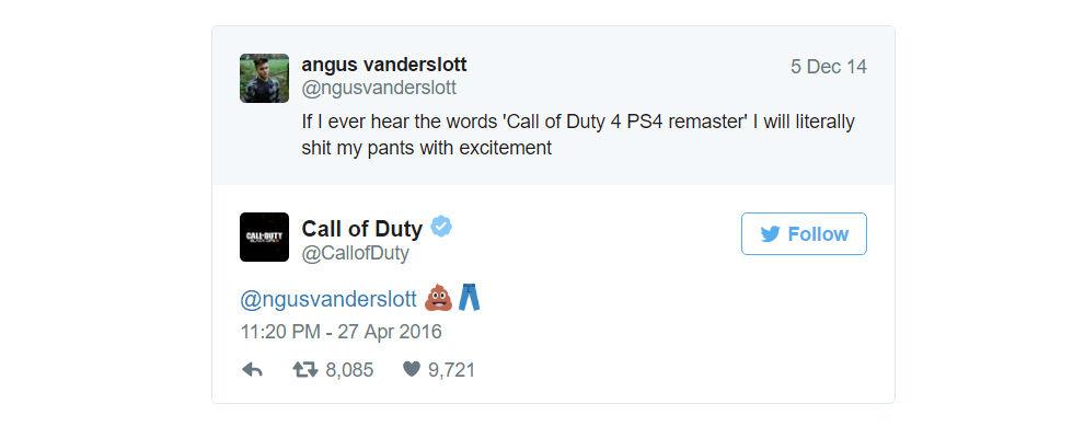 Bajsemoji spär på ryktena om Modern Warfare remastered