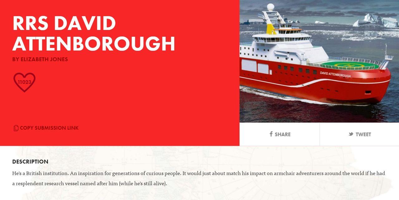 Boaty McBoatface kommer heta RRS Sir David Attenborough