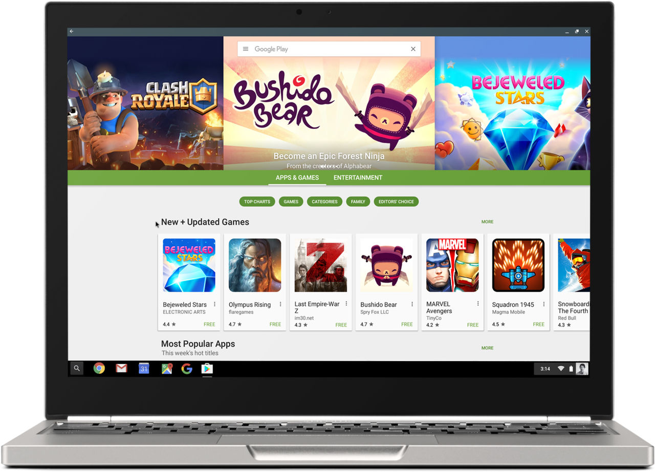 Google släpper Android-appar till Chrome OS