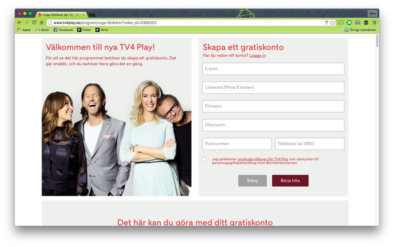 TV4 Play börjar med inloggning