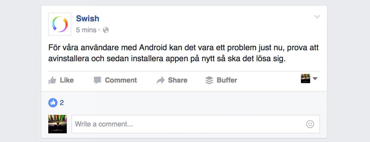 I dag är det problem för Swish på Android