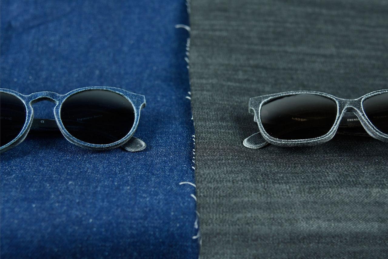 Glasögon gjorda av använd denim