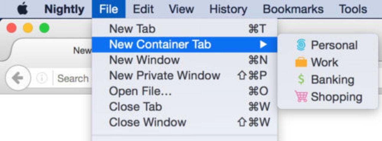Firefox testar att ha olika identiteter i webbläsarens tabbar