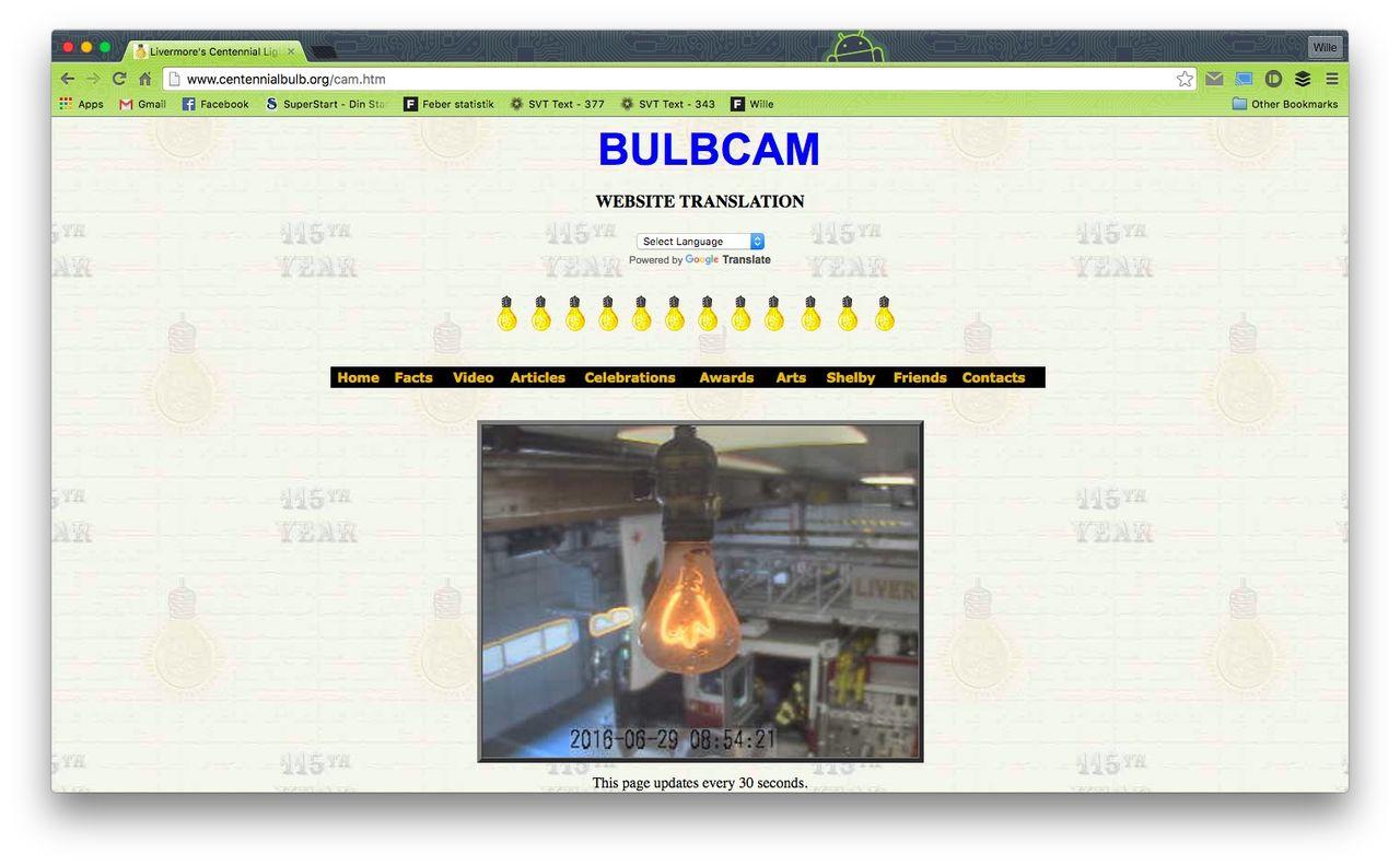 Webcam filmar världens längst lysande glödlampa
