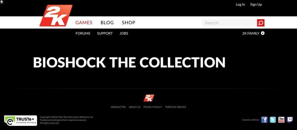 2K listar BioShock: The Collection på sin webbplats