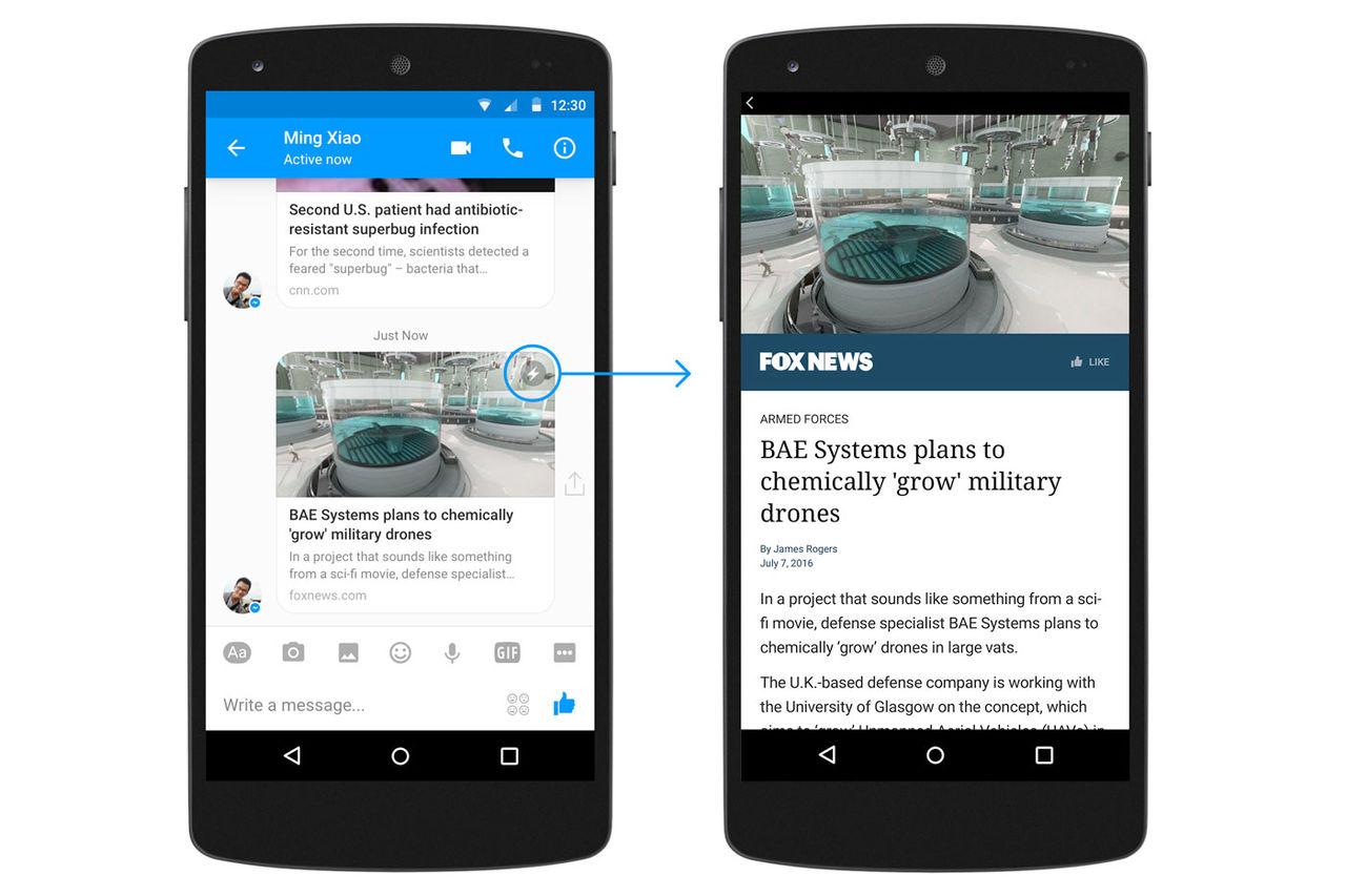Nu kommer Facebook Instant Articles även till Messenger