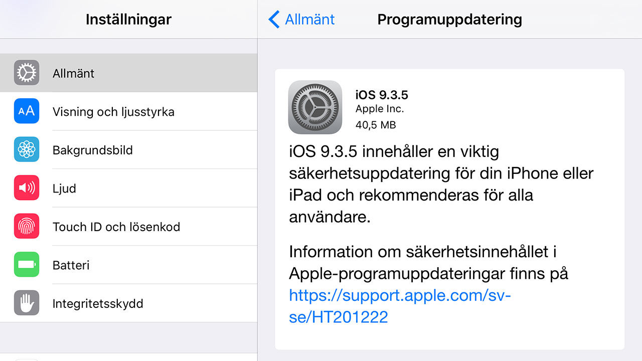 Apple släpper iOS 9.3.5