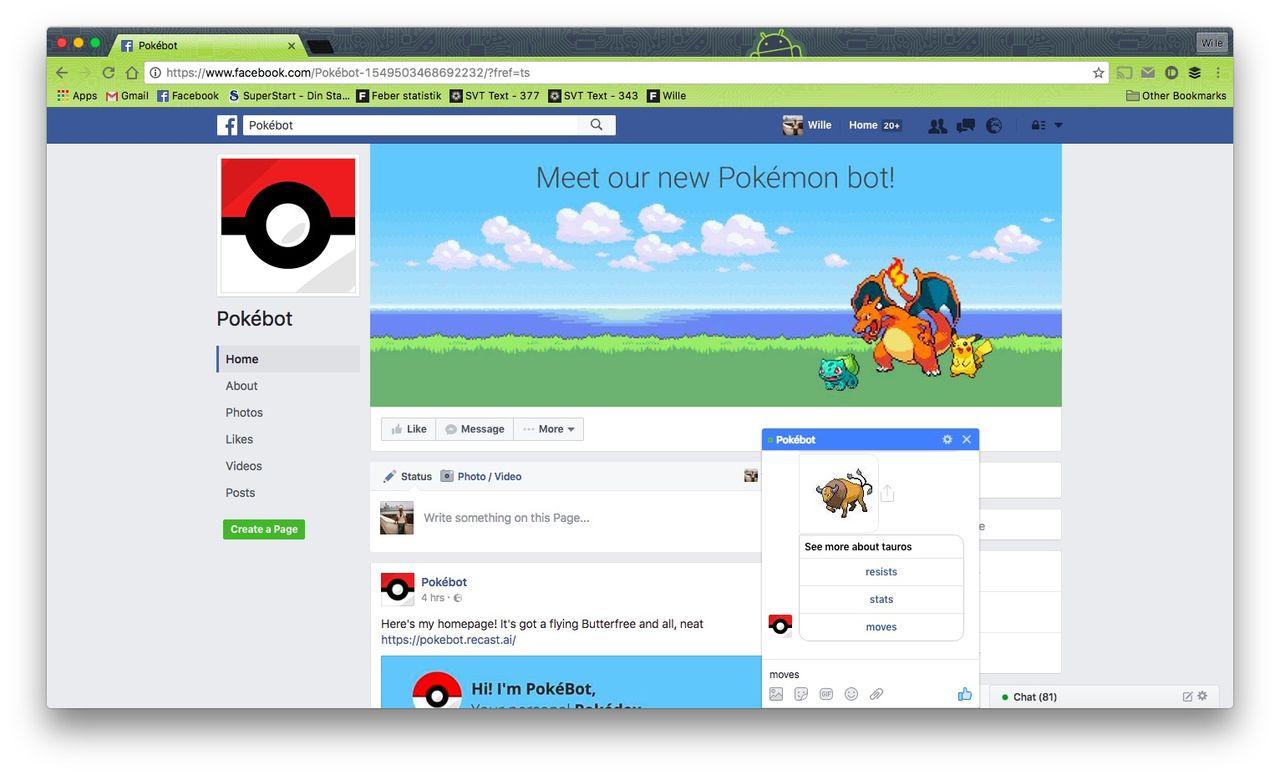 Pokébot är en Facebook-bot för information om Pokémons