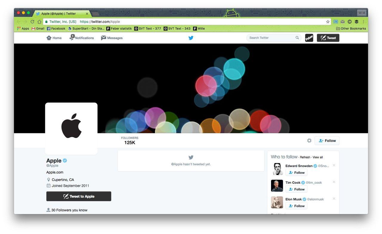 Apple uppdaterar sitt twitter-konto