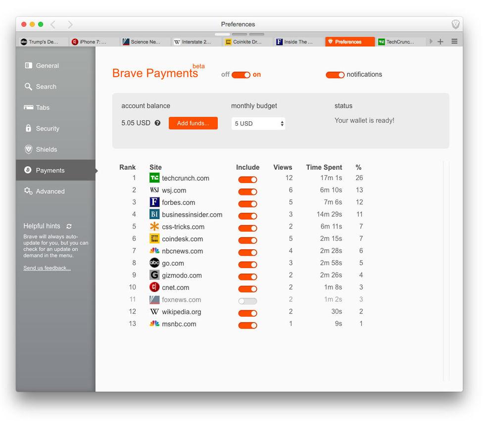 Betala dina favoritsajter med webbläsare Brave