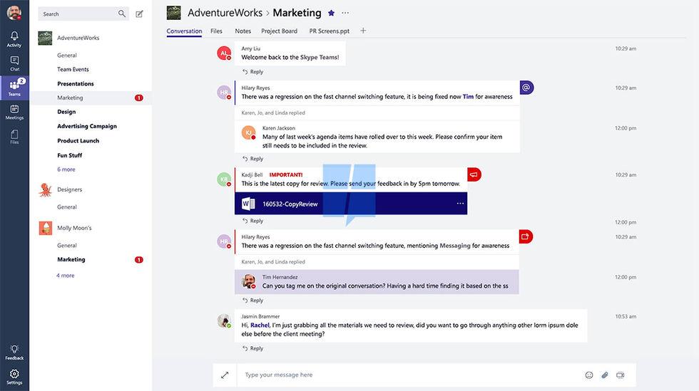 Microsoft tar fram samarbetsverktyget Skype Teams