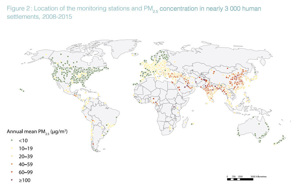 Över 90 procent av världens befolkning andas in dålig luft