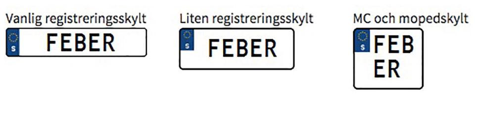 Här är registreringsplåtarna som inte godkänts