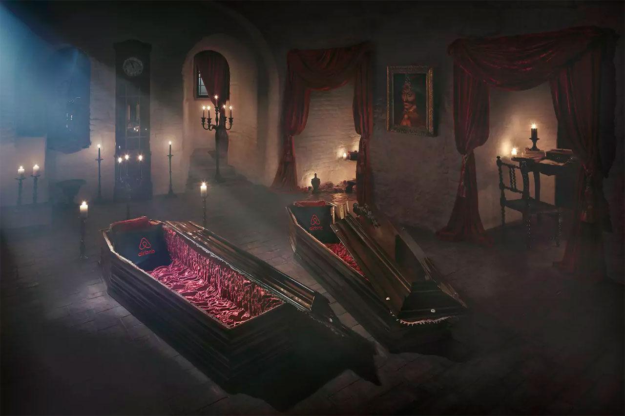 Bo i en kista i Draculas slott