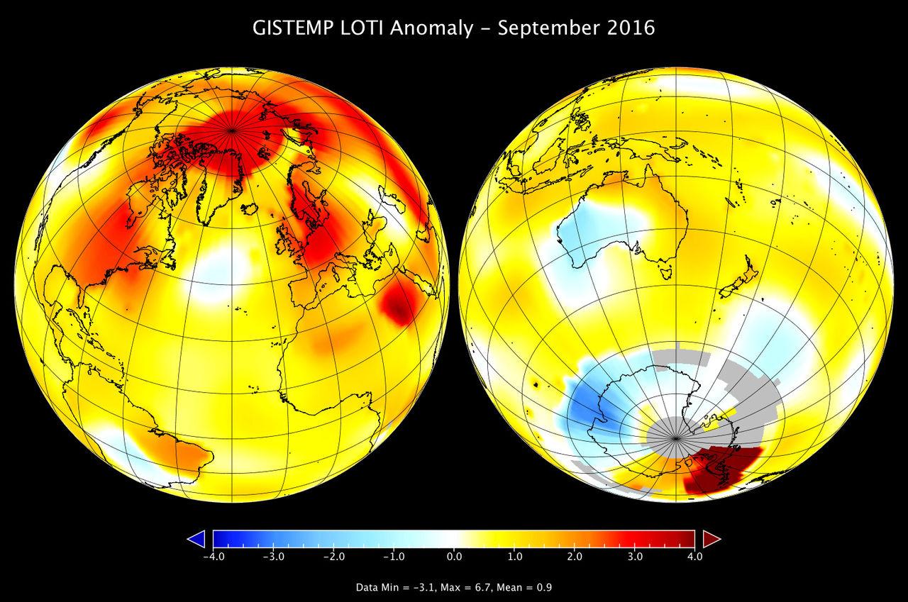 Nästan helt säkert att 2016 blir det varmaste året i modern tid